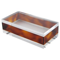 1970s Modernist Clear and Tortoiseshell Lucite Decorative Long Box