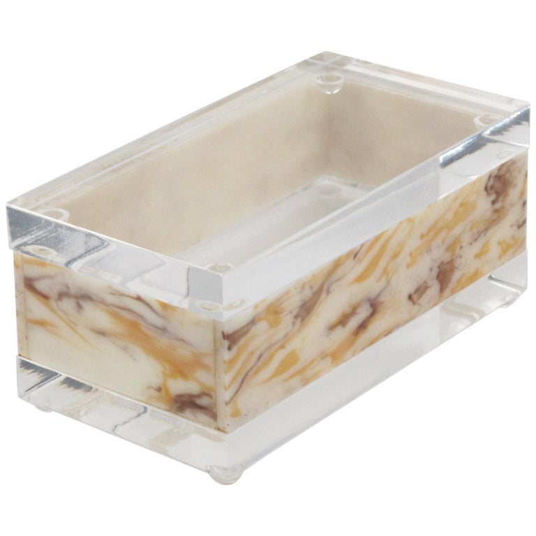 1970s Modernist Large Lucite Box For Sale