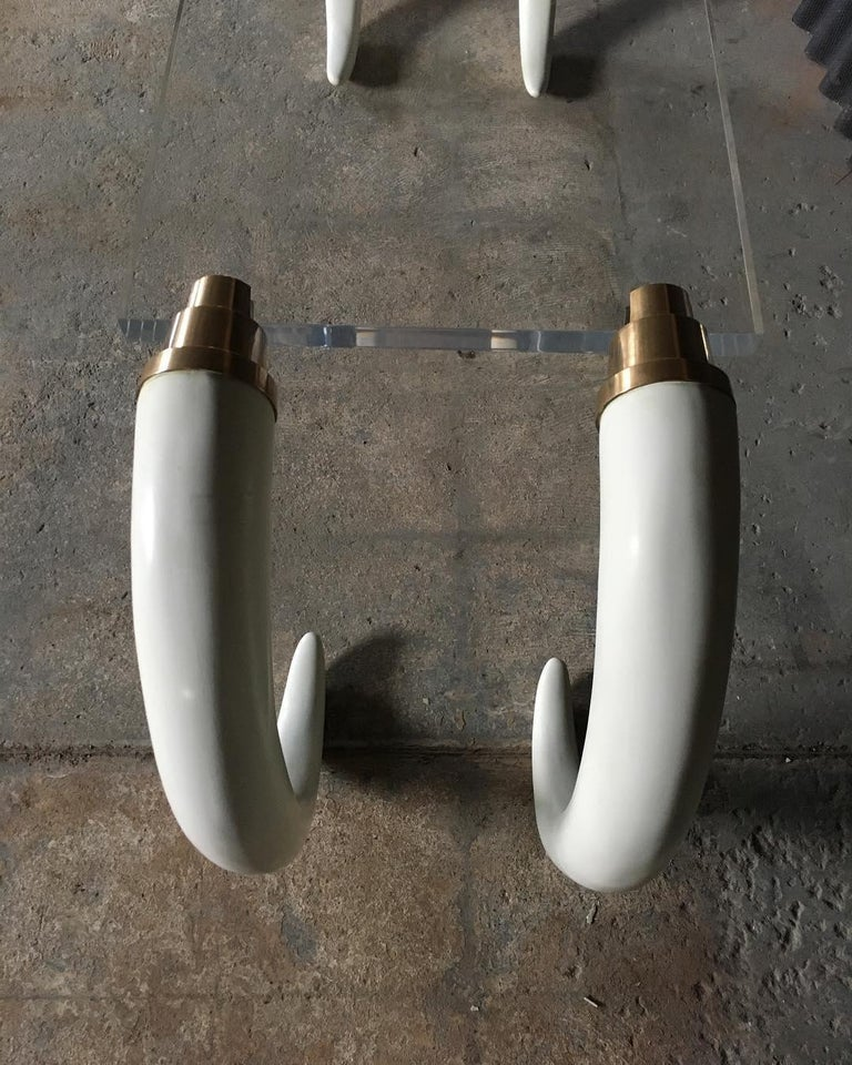 Late 20th Century 1970s Modernist Elephant Tusk Console / Writing Table For Sale