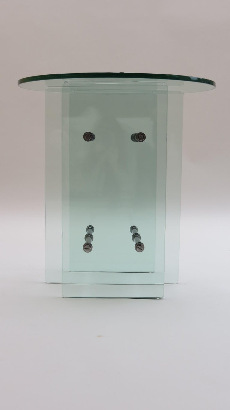 1970s Modernist Glass and Nickel-Plated Metal Side Table 3
