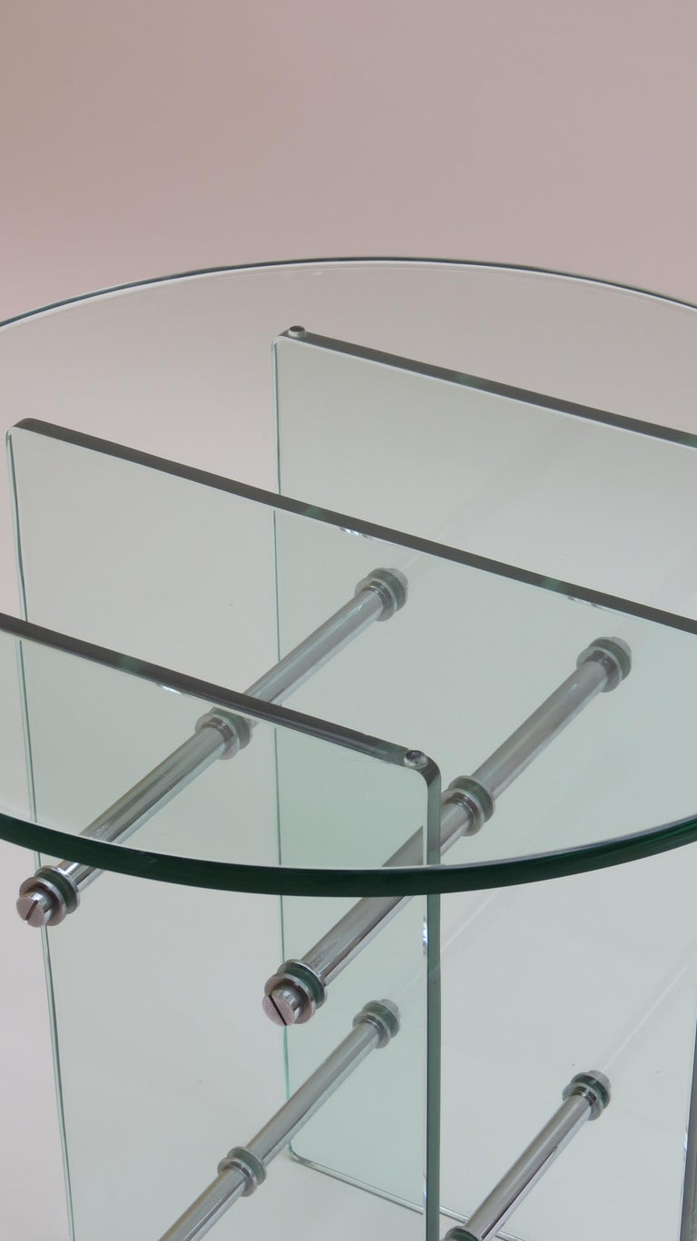 1970s Modernist Glass and Nickel-Plated Metal Side Table 4