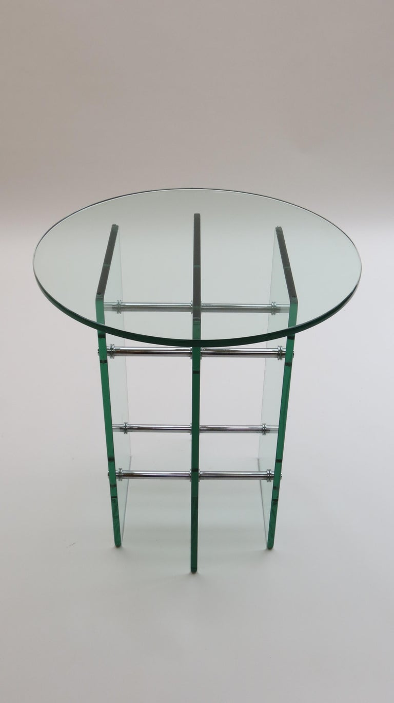 Swiss 1970s Modernist Glass and Nickel-Plated Metal Side Table