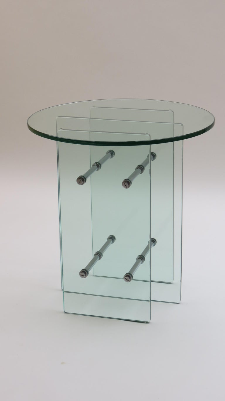 1970s Modernist Glass and Nickel-Plated Metal Side Table In Good Condition In Stow on the Wold, GB