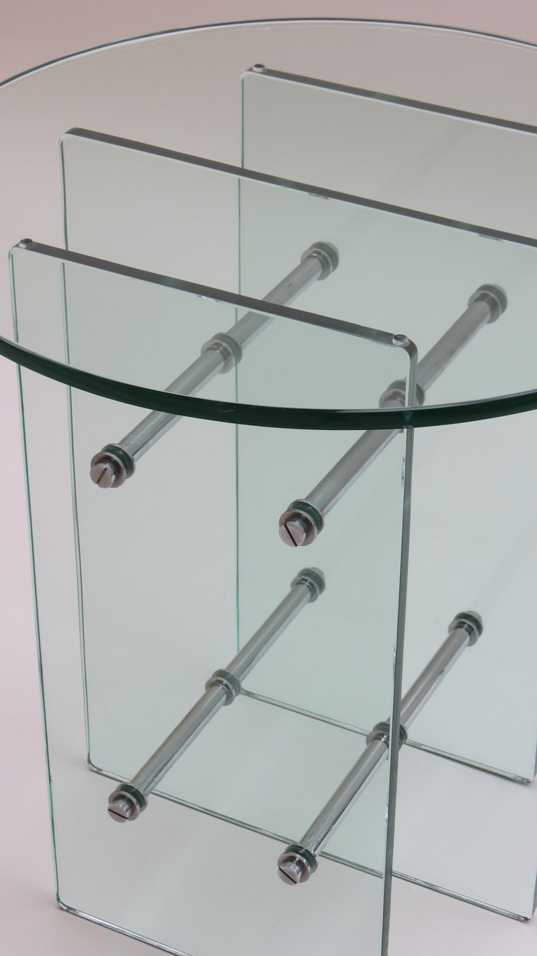 20th Century 1970s Modernist Glass and Nickel-Plated Metal Side Table