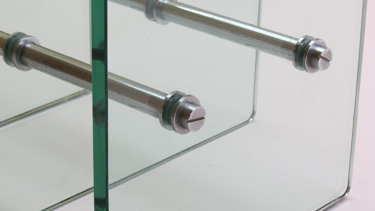 1970s Modernist Glass and Nickel-Plated Metal Side Table 1