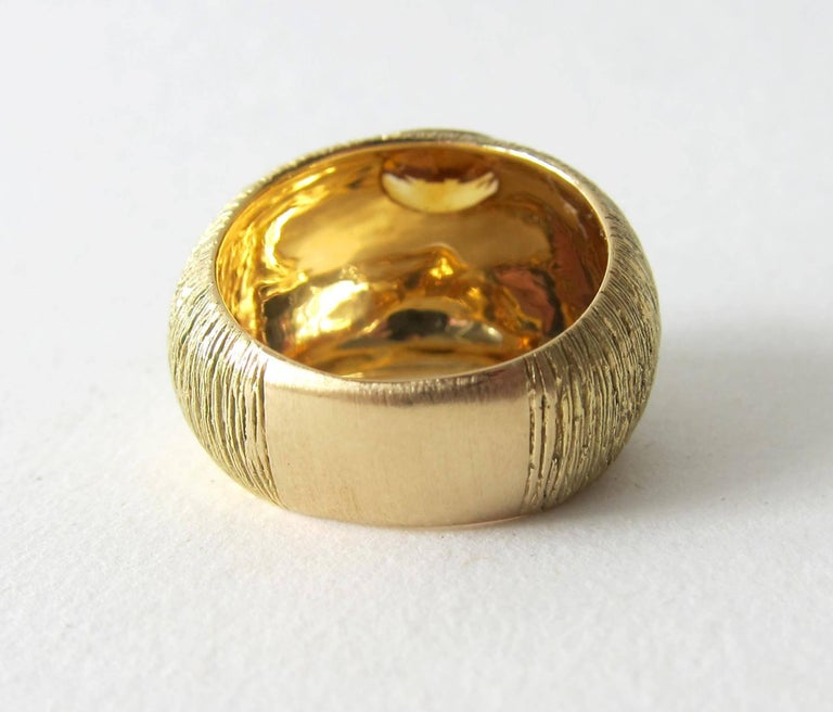 Oval Cut 1970s Modernist Gold Citrine Textrured Bombé Ring For Sale