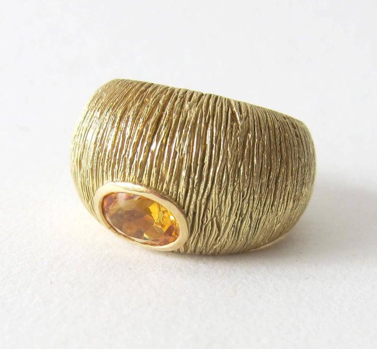 Women's 1970s Modernist Gold Citrine Textrured Bombé Ring For Sale