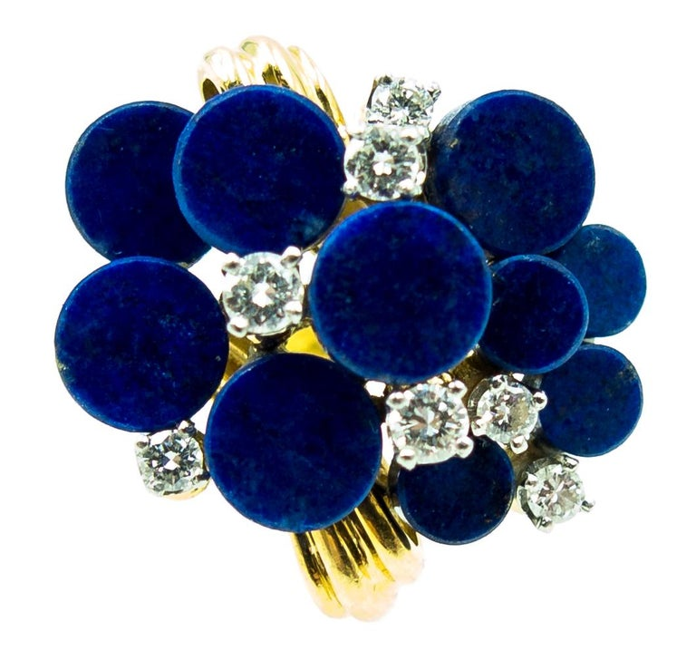 1970s Modernist Gold Lapis Diamond Cocktail Ring In Good Condition For Sale In New York, NY
