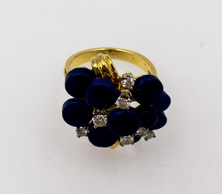 Women's 1970s Modernist Gold Lapis Diamond Cocktail Ring For Sale