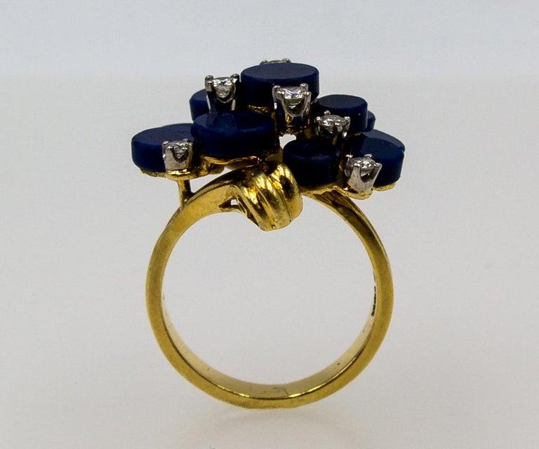 1970s Modernist Gold Lapis Diamond Cocktail Ring For Sale 1