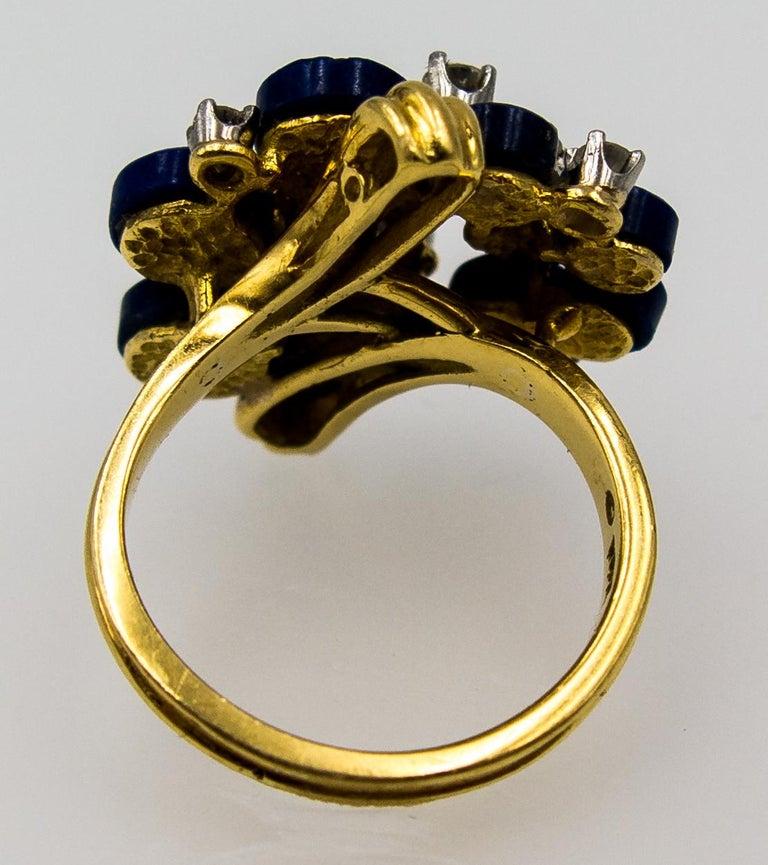 1970s Modernist Gold Lapis Diamond Cocktail Ring For Sale 4