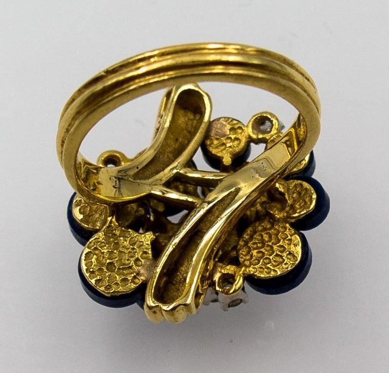 1970s Modernist Gold Lapis Diamond Cocktail Ring For Sale 5