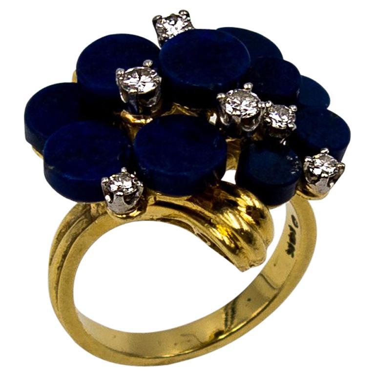 1970s Modernist Gold Lapis Diamond Cocktail Ring For Sale