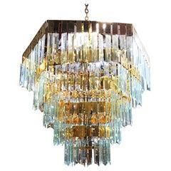 1970s Modernist Hanging Crystal Brass Chandelier