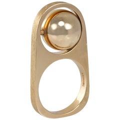 1970s Modernist Hans Hansen Rotating Ball Gold Ring