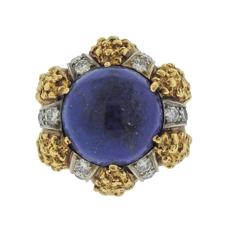 1970s Modernist Lapis Diamond Gold Ring In Excellent Condition For Sale In Lahaska, PA