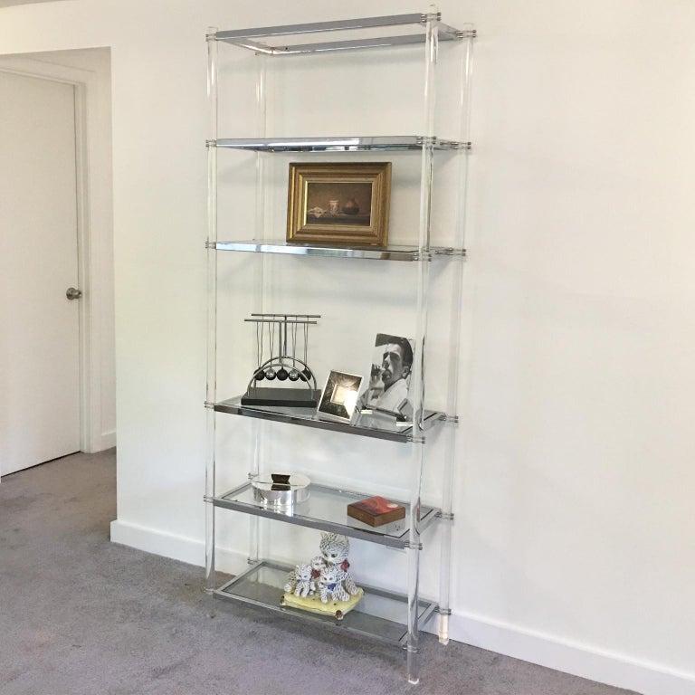 Mid-Century Modern 1970s Modernist Lucite and Chrome Étagère Bookcase Shelves For Sale