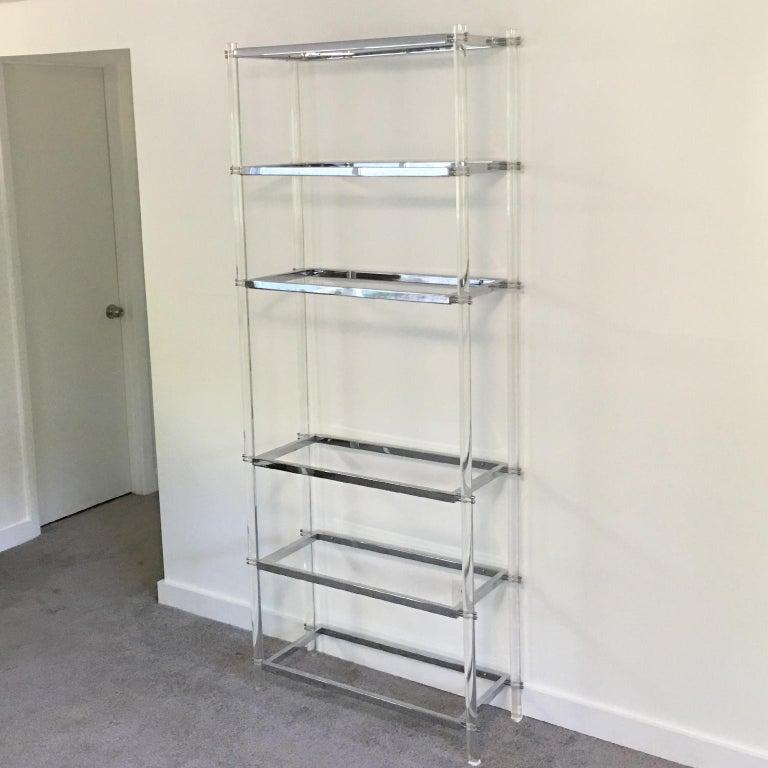American 1970s Modernist Lucite and Chrome Étagère Bookcase Shelves For Sale