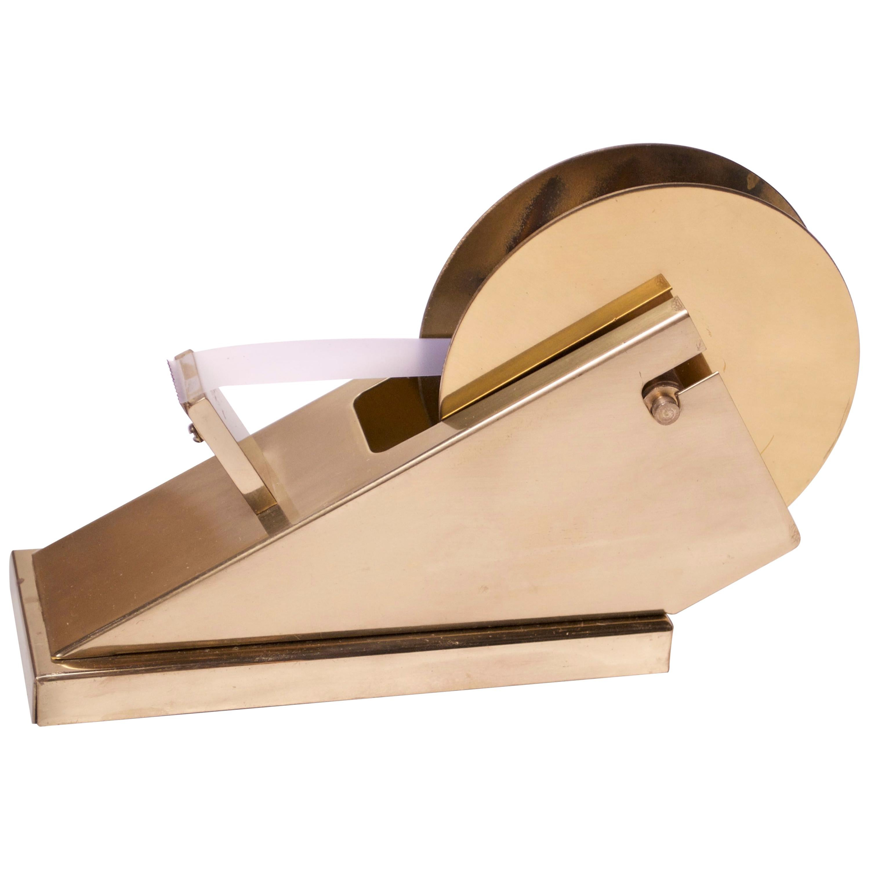 1970s Modernist Polished Brass Tape Dispenser