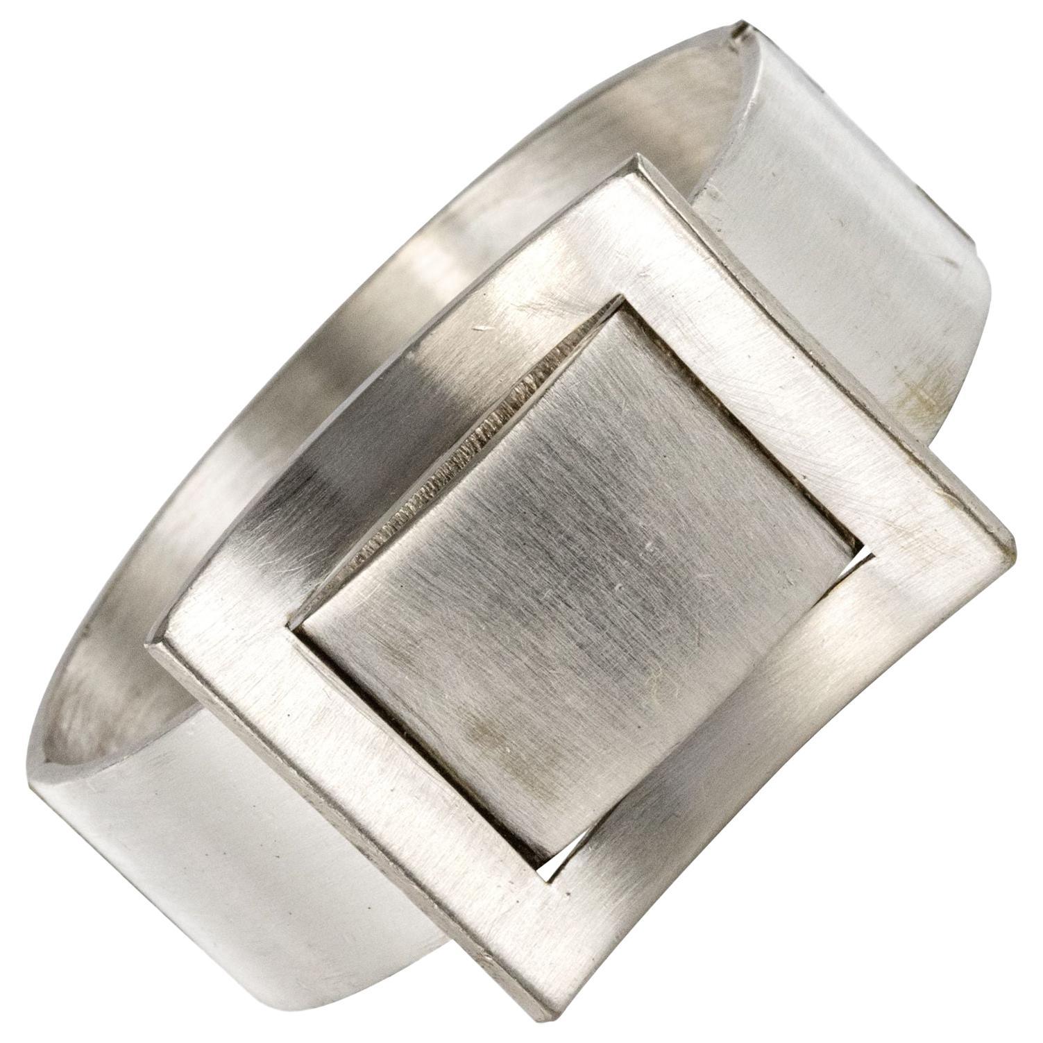 1970s Modernist Silver Bangle Bracelet Watch