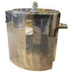 1970s Modernist Silver Plated Italian Ice Bucket in the Manner of Gio Ponti