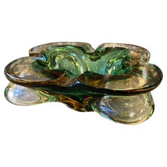 1970s Modernist Sommerso Murano Glass Ashtray by Seguso