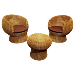 1970s Modernist Wicker Patio Set with Two Lounge Chairs and One Side Table