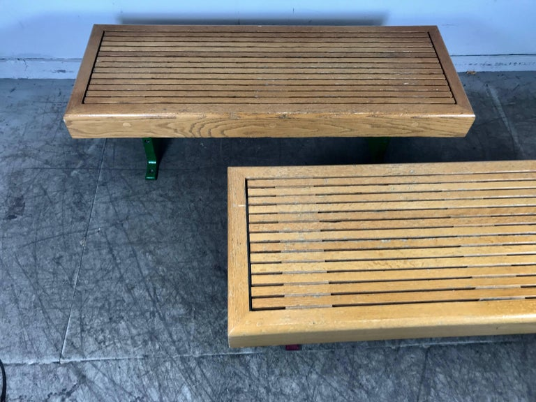 American 1970s Modernist Wood and Cast Iron Architectural Garden, Gallery Benches For Sale