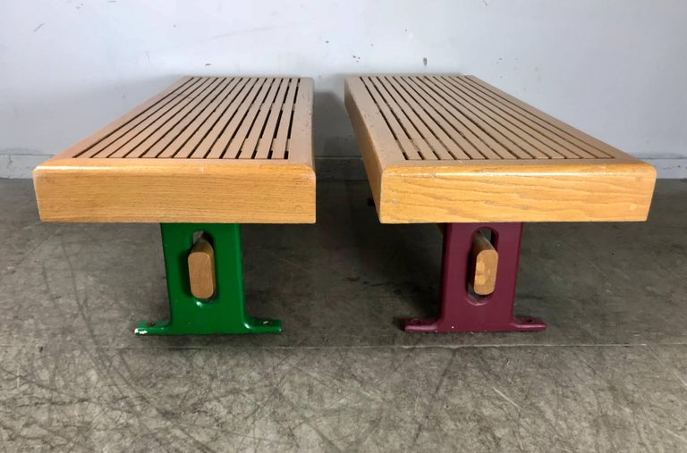 Late 20th Century 1970s Modernist Wood and Cast Iron Architectural Garden, Gallery Benches For Sale