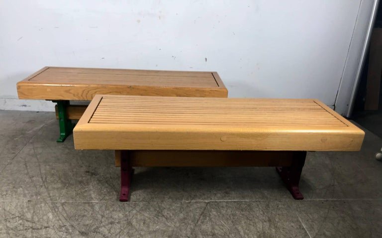 1970s Modernist Wood and Cast Iron Architectural Garden, Gallery Benches For Sale 1