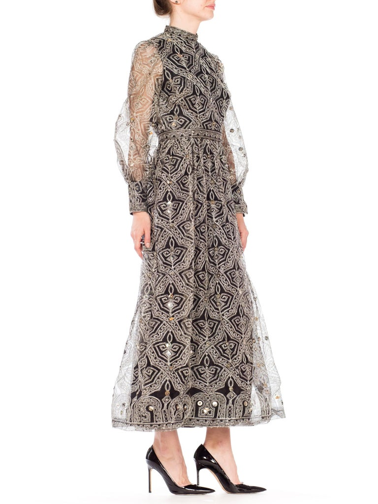 1970s MOLLIE PARNIS Black Tulle Dress Covered with Metallic Embroidery  In Excellent Condition For Sale In New York, NY