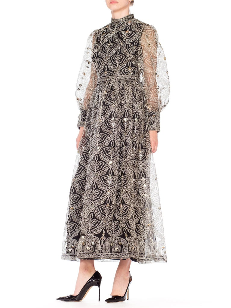 Women's 1970s MOLLIE PARNIS Black Tulle Dress Covered with Metallic Embroidery  For Sale