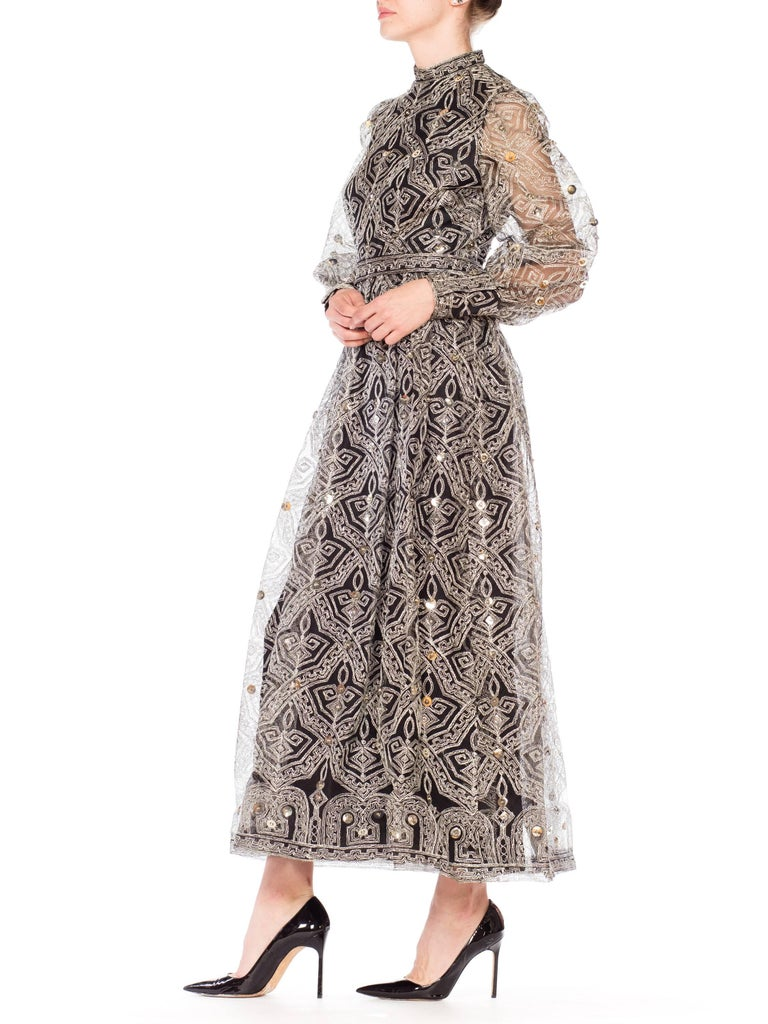 1970s MOLLIE PARNIS Black Tulle Dress Covered with Metallic Embroidery  For Sale 3