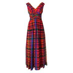 1970s Mollie Parnis Boutique Plaid Coral Blue & Green Print Chiffon Dress