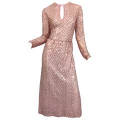 1970s Mollie Parnis Pink Lurex Rose Gold Sequined Long Sleeve Vintage 70s Gown