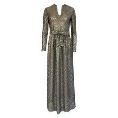 1970s Mollie Parnis Silver Sequin & Knit Lame Jersey Dress w Belt