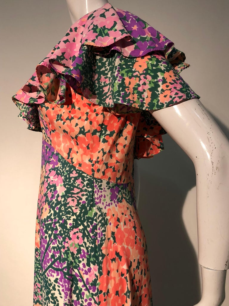 1970s Monet Inspired Bias Cut Floral Maxi Dress W/ Ruffles At Neckline For Sale 5