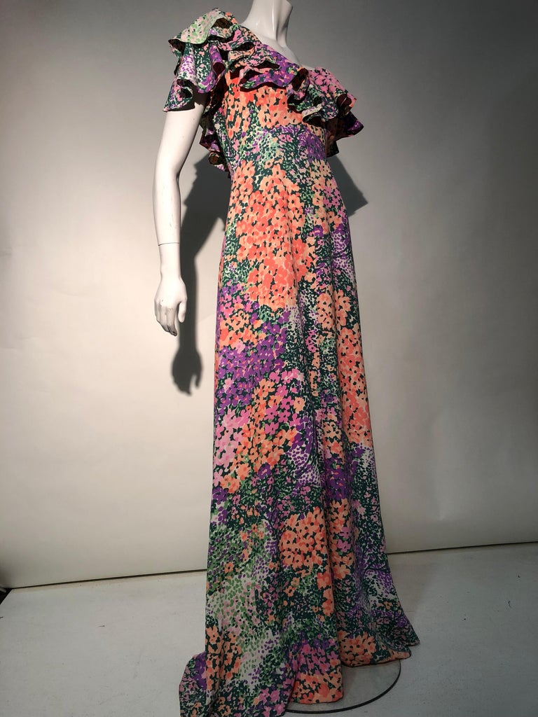 1970s Monet Inspired Bias Cut Floral Maxi Dress W/ Ruffles At Neckline For Sale 6
