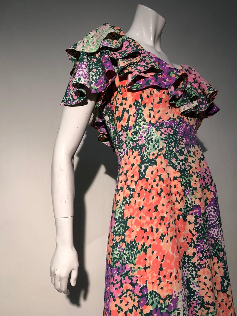 1970s Monet Inspired Bias Cut Floral Maxi Dress W/ Ruffles At Neckline For Sale 7
