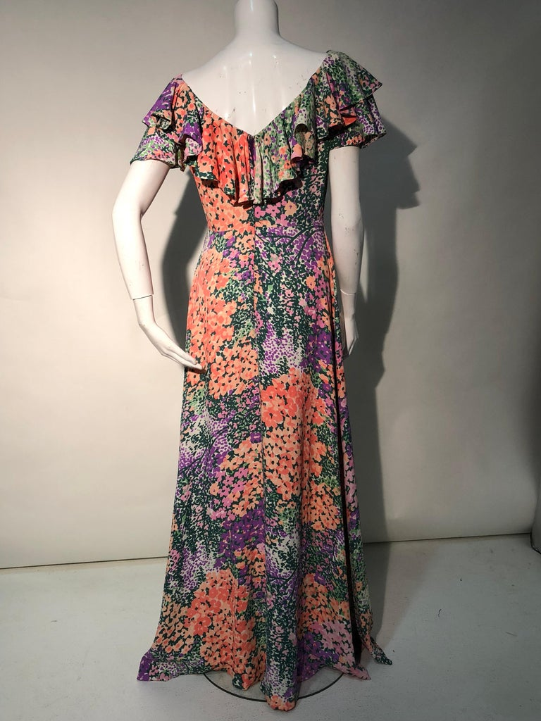 1970s Monet Inspired Bias Cut Floral Maxi Dress W/ Ruffles At Neckline For Sale 8