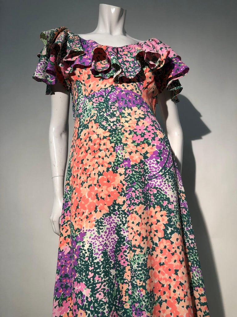 Black 1970s Monet Inspired Bias Cut Floral Maxi Dress W/ Ruffles At Neckline For Sale