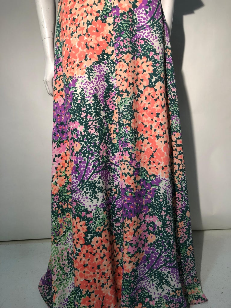 Women's 1970s Monet Inspired Bias Cut Floral Maxi Dress W/ Ruffles At Neckline For Sale