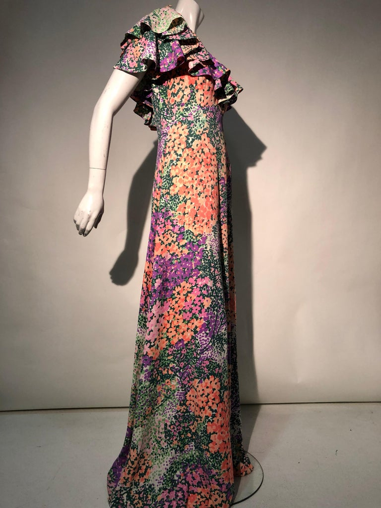 1970s Monet Inspired Bias Cut Floral Maxi Dress W/ Ruffles At Neckline For Sale 1