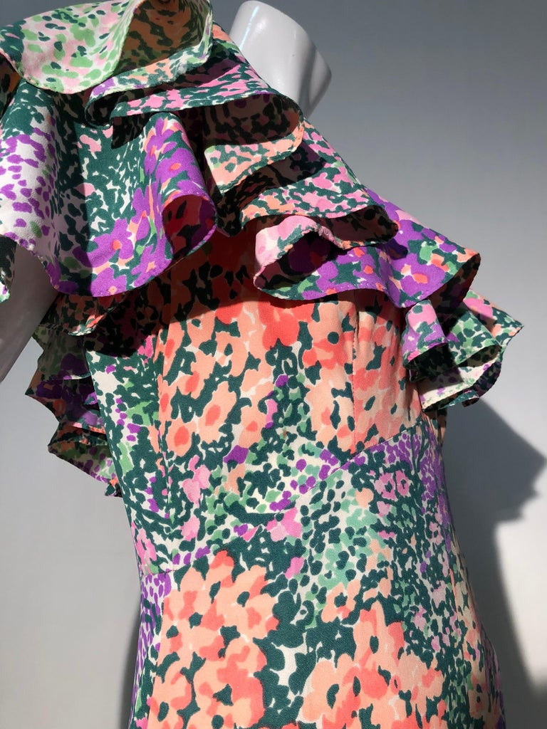 1970s Monet Inspired Bias Cut Floral Maxi Dress W/ Ruffles At Neckline For Sale 2