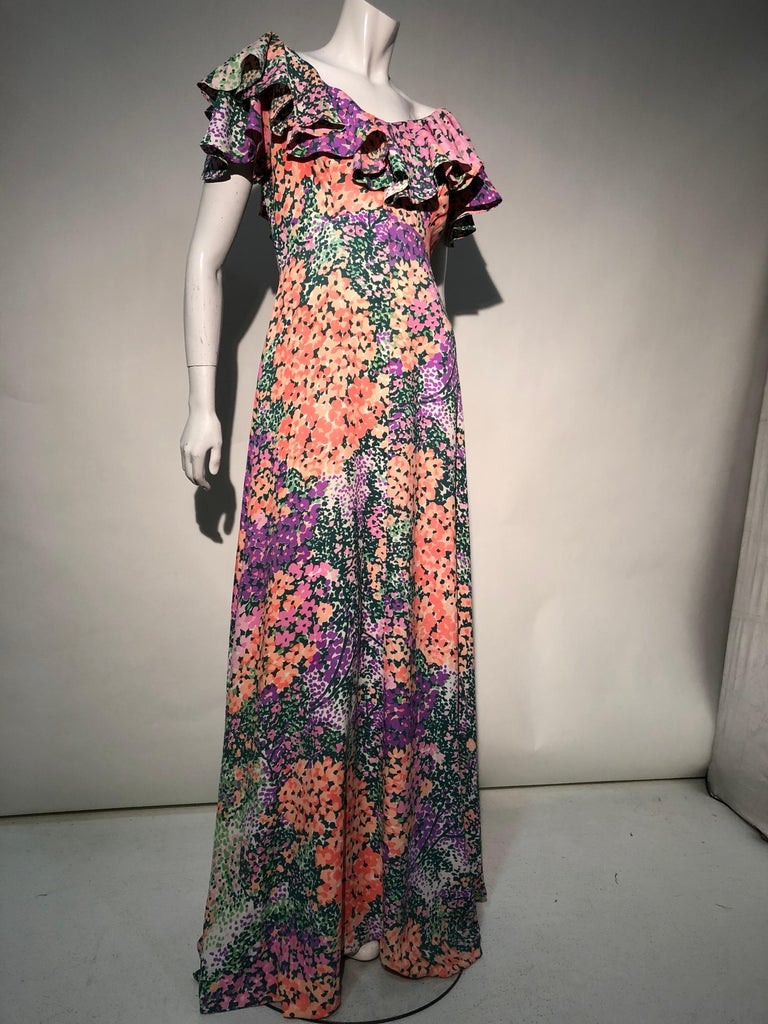 1970s Monet Inspired Bias Cut Floral Maxi Dress W/ Ruffles At Neckline For Sale 3