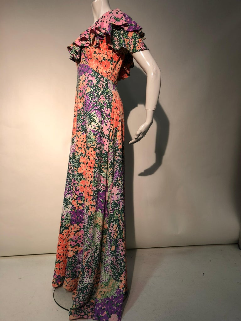 1970s Monet Inspired Bias Cut Floral Maxi Dress W/ Ruffles At Neckline For Sale 4