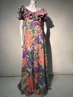 1970s Monet Inspired Bias Cut Floral Maxi Dress W/ Ruffles At Neckline