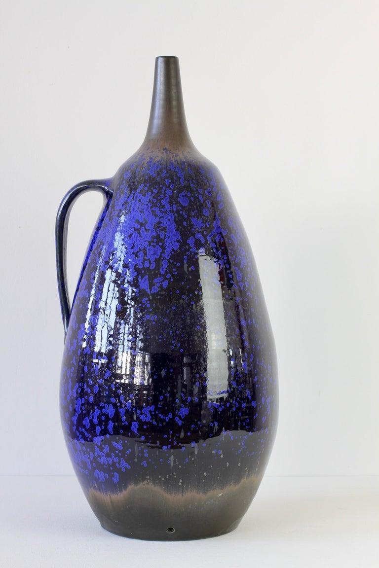 1970s Monumental Blue Glazed West German Pottery Floor Vase by Wendelin Stahl For Sale 7