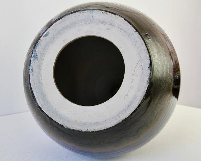 1970s Monumental Blue Glazed West German Pottery Floor Vase by Wendelin Stahl For Sale 11