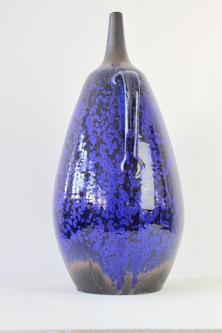Ceramic 1970s Monumental Blue Glazed West German Pottery Floor Vase by Wendelin Stahl For Sale